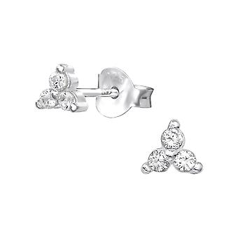 Triangle - 925 Sterling Silver Cubic Zirconia Ear Studs - W35442x