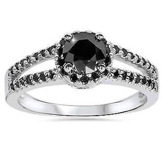 الماس الأسود ط م 2 تقسيم هالة عرقوب خاتم الخطوبة 14 ك الذهب الأبيض