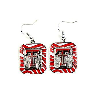 Boucle d'oreille de Style Texas Tech Red Raiders NCAA Zebra