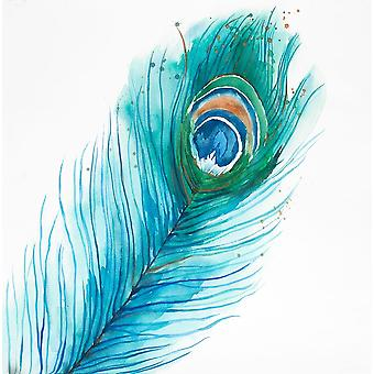 Long Peacock Feather Poster Print by Atelier B Art Studio