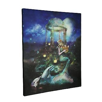 Mystical Mermaid and Dolphins LED Lighted Canvas Print