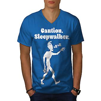Sleepwalk Funy Zombie Men Royal BlueV-Neck T-shirt   Wellcoda