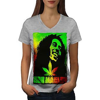 Bob Marley Pot Rasta Women GreyV-Neck T-shirt | Wellcoda