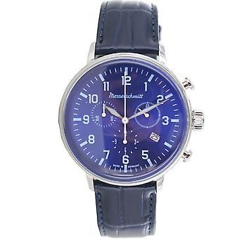 Aristo Messerschmitt men's watch stainless steel chronograph leather ME 4H168L