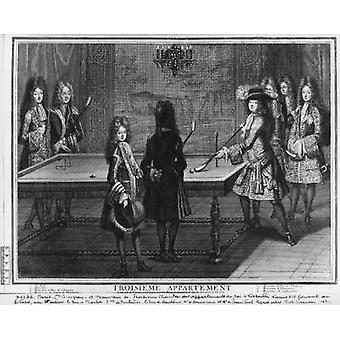 Louis XIV playing billiards with his.. - Art Print
