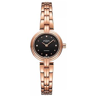 Rotary Women's Diamonds Black Dial PVD Plated Rose Gold Stainless LB00414/15 Watch