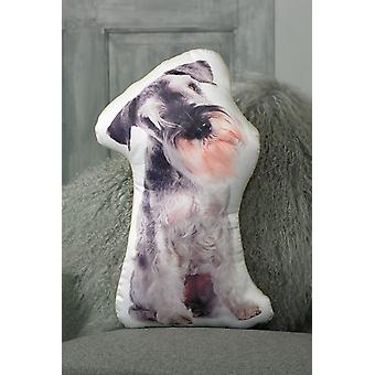 Adorable salt & pepper schnauzer shaped cushion