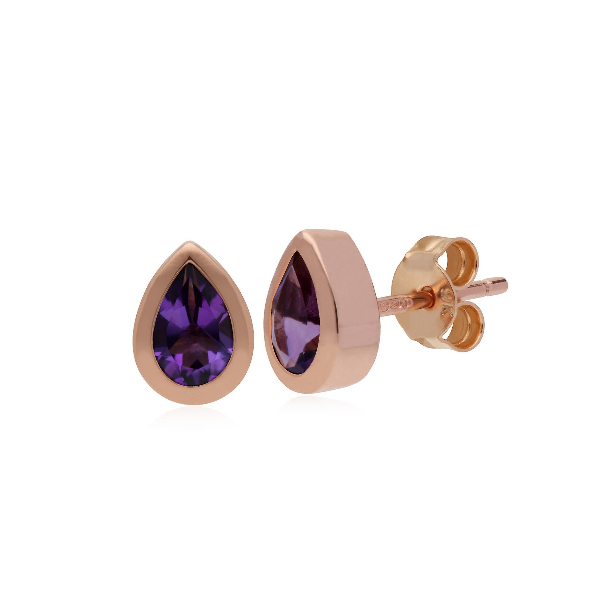 9ct Rose Gold Amethyst Classic Pear Stud Earrings