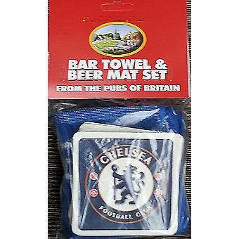 Chelsea Fc Cotton Bar Towel And 10 Beermats