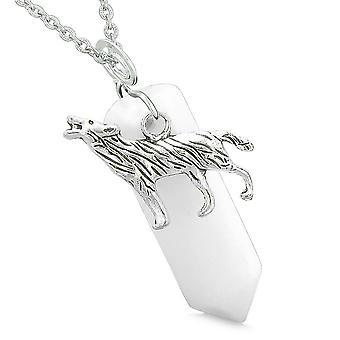 Mut, Heulender Wolf Schutz Energie Amulett Glück Crystal Point White Quarz Anhänger Halskette