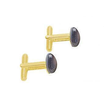 Herren - Manschettenknöpfe – Vergoldet – Achat – Grau – 18 mm