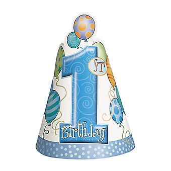 Eerste verjaardag blauw feest hoeden