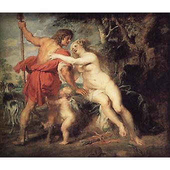 Venus en Adonis, Peter Paul Rubens, 60x50cm