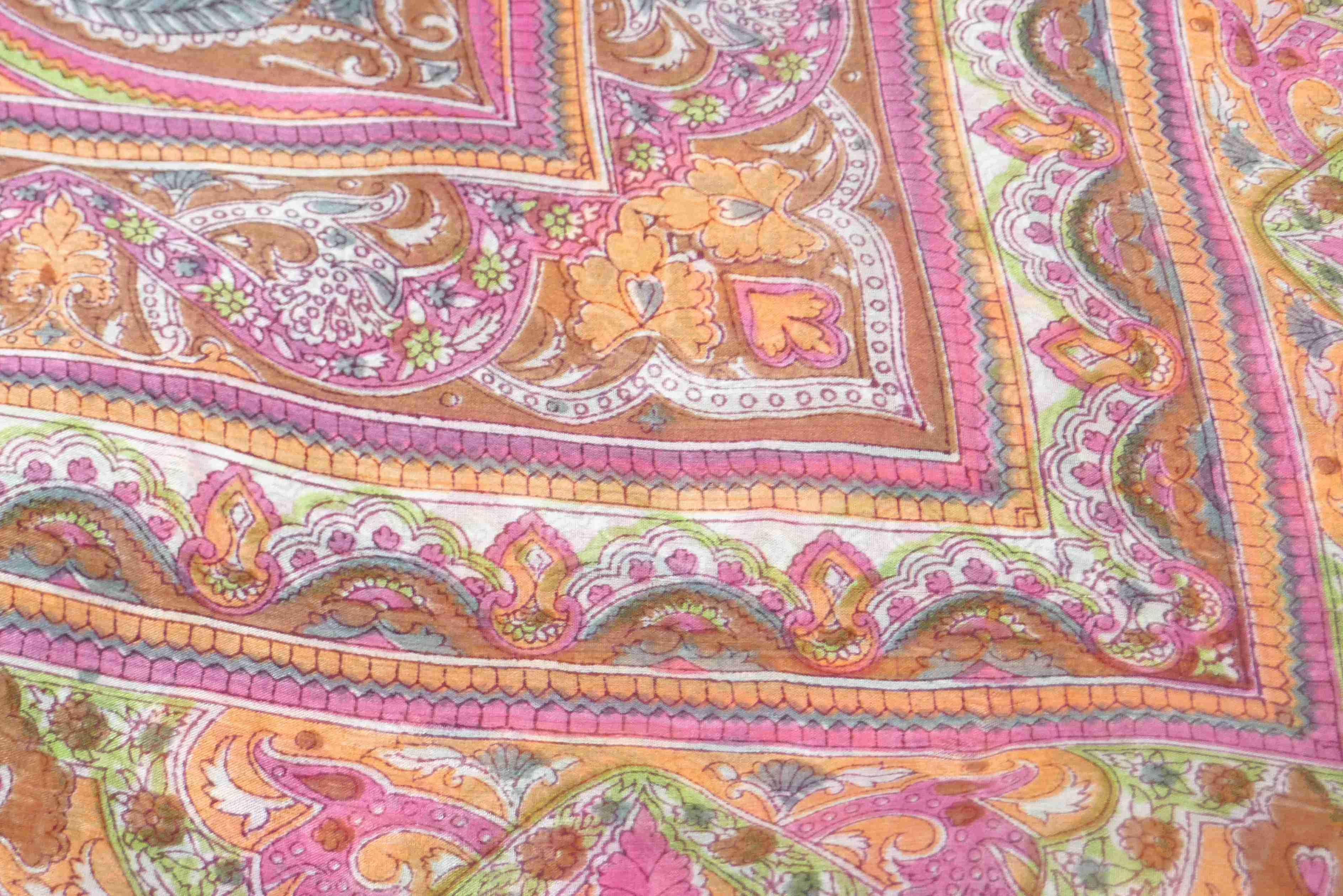 Mulberry Silk Traditional Square Scarf Gandak Caramel by Pashmina & Silk