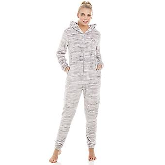 Camille Speckled Grey Supersoft Fleece Hooded Onesie