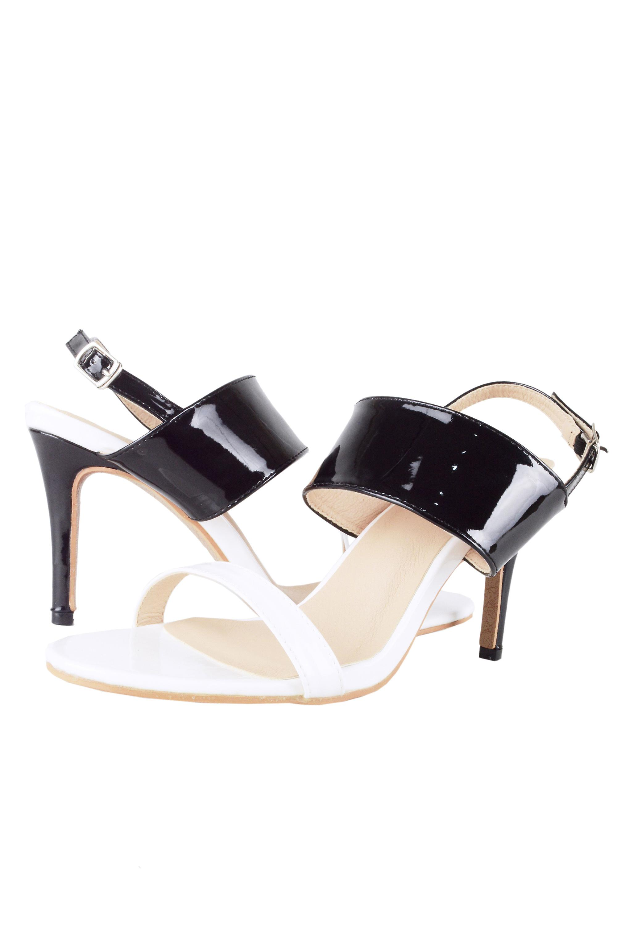 LMS Black & White Patent Sandal With Mid Heel