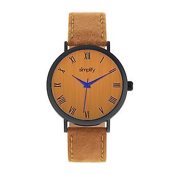 Yksinkertaistaa 2900 nahka bändi Watch - musta/oranssi