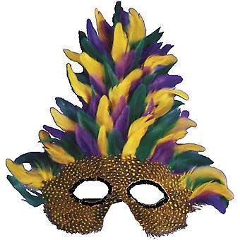 Mask Mardi Gras Tall Feather For Adults