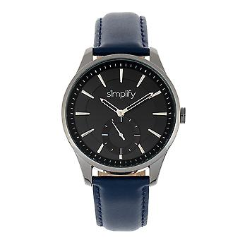 Vereenvoudigen de 6600 serie lederen-Band horloge - blauw/zwart