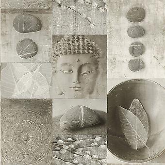 Keuken badkamer Boeddha tegel afwasbaar Vinyl blad Pebble glanzende Rasch behang