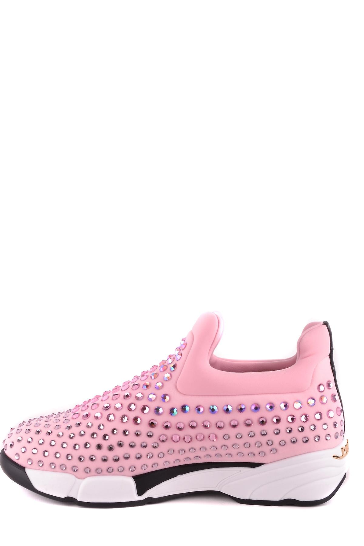 Pinko Ezbc056080 Women's Pink Nylon Slip On Sneakers