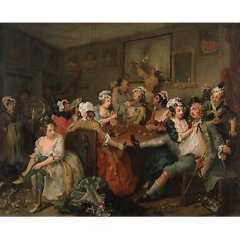 A Rake-S Progress, Scène de taverne, William Hogarth, 50x40cm