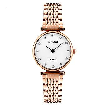 Skmei Women's Watch Rose Gold White Intricate Link Strap Crystal Stones SK1223