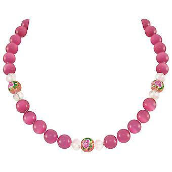Eeuwige collectie serene fuchsia roze katten oog kralen zilveren Toon statement ketting