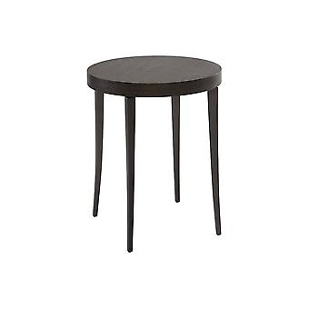 Gillmore Circular Side Table In Dark Charcoal Wood With Gun Metal Legs