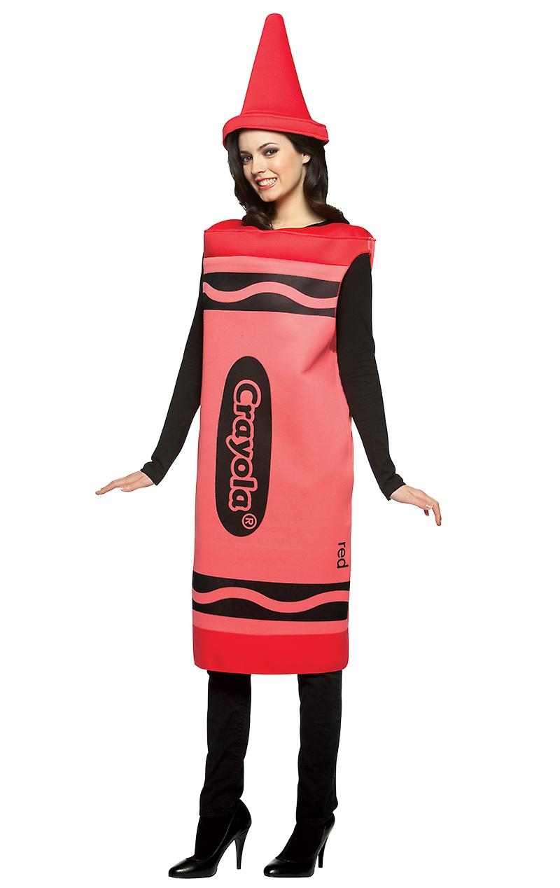 Womens Crayola Crayon Red Dress Hen Party Group Fancy Dress Costume