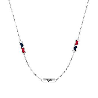 Minnesota Twins Sterling Silver Engraved Triple Station Necklace In Blue & Red