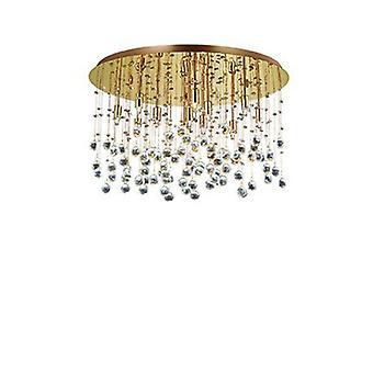 12 Light  Large Semi Flush Ceiling Pendant Gold