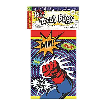 Bristol Novelty Super Hero Party Treat Bags (Pack Of 16)