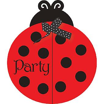 Ladybug Party Invitation with envelope 8 pieces of beetle party children's birthday