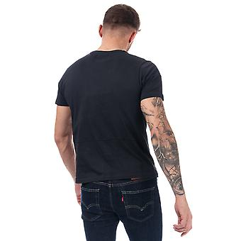 Mens Duck And Cover Crosdale Reflective Print T-Shirt In Black- Short Sleeve-