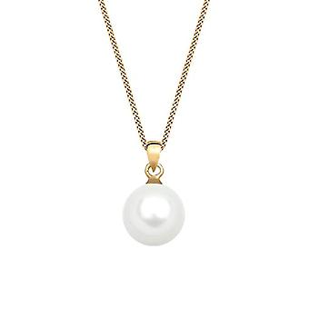 Elli Necklace with Yellow Gold Woman Pendant 585 with White Pearl Cultivated d' Sweet Water - 45 cm
