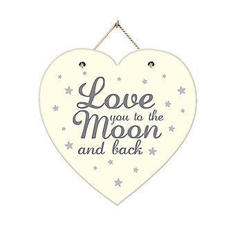 Love To The Moon & Back Hanging Heart Wooden Plaque White Grey 20cm