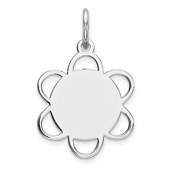 925 Sterling Silver Polished Engravable Engraveable Disc Charm - .5 Grams