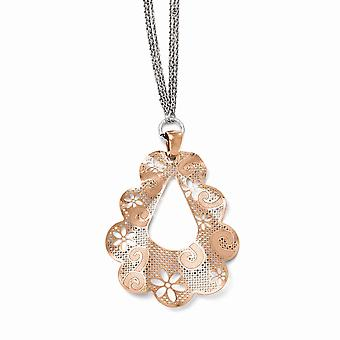 925 Sterling Silver Polished Fancy Lobster Closure Rose 14k Gold Plated Necklace Jewelry Gifts for Women