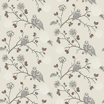 Noche Búho Floral Wallpaper Birds Flores Hoja Beige Cobre Glitter Arthouse