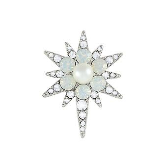 Eternal Collection Sprite Crystal And Pearl Silver Tone Star Brooch