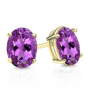 Dazzlingrock Collection 10K 6X4 MM Each Oval Amethyst Ladies Solitaire Stud Earrings, Yellow Gold