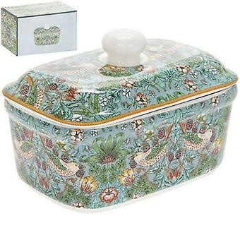 New Teal Strawberry Thief Ceramic Lidded Butter Dish
