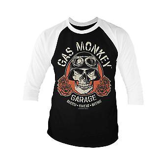 Gas Monkey Garage Baseball Shirt Skull Logo nouveau Mans officiel 3/4 Manches