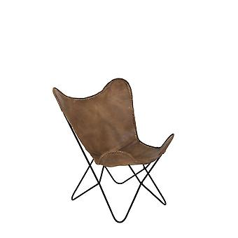 Light & Living Butterfly Style Brown Leather Chair 75x87x86cm