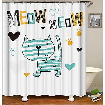Meow Cute Cat Drawing Shower Curtain