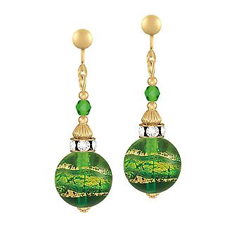 Eternal Collection Focale Peridot/Emerald Murano Glass Gold Tone Drop Clip On Earrings