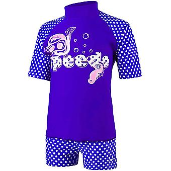 Speedo Girls Swimming Short Sleeve Rash Suntop Boyleg Shorts Swim Set - Purple