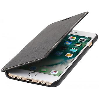 Case For iPhone 8 Plus/7 Plus Book Type Black In True Leather Without Closing Clip