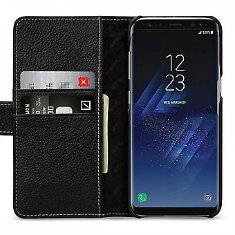 Case For Samsung Galaxy S8 Plus Black Grained Card Holder In True Leather